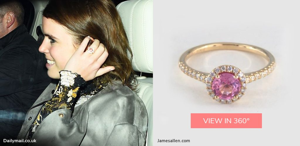 royal engagement rings eugenie pink sapphire halo