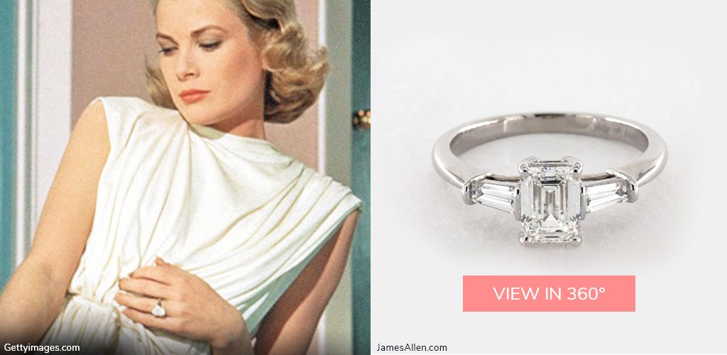 royal engagement rings grace kelly baguette emerald cut