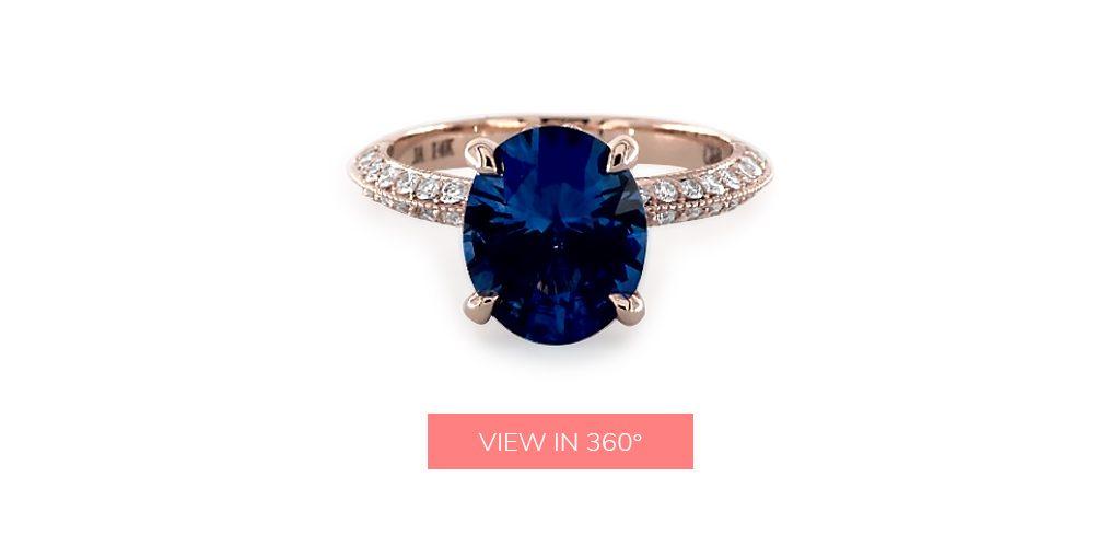 2.95 Carat Oval Natural Blue Sapphire Pavé Knife Edge Lotus Basket Engagement Ring