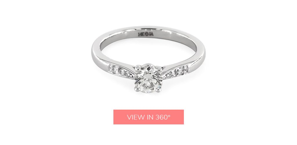 Round Diamond Petite Diamond Accent Engagement Ring under $3,000