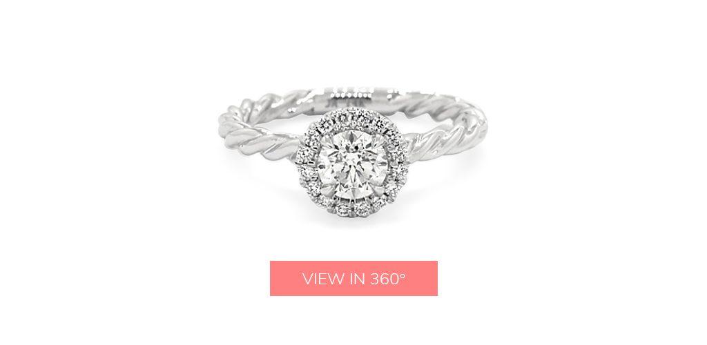 0.50 Carat K-I1 Very Good Cut Round Diamond Pavé Halo Cabled Diamond Engagement Ring under $3,000