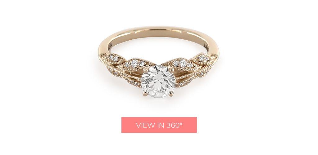 0.930 Carat K-SI1 Good Cut Round Diamond Vintage Inspired Floral Bouquet Engagement Ring under $3,000