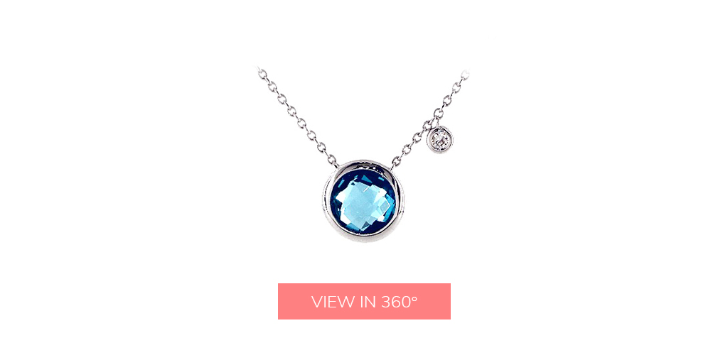 blue topaz december birthstone bezel pendant necklace