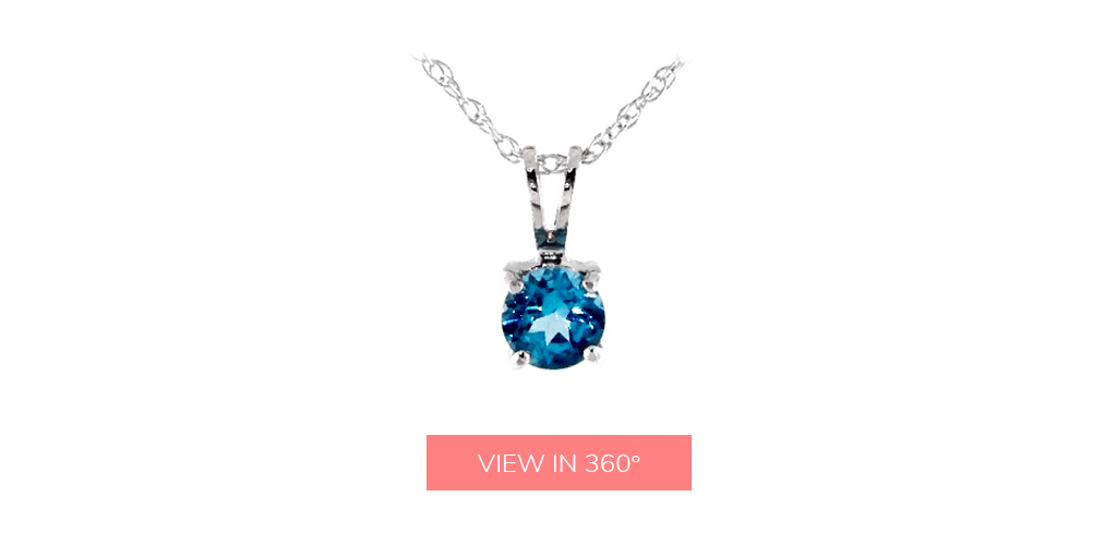 blue topaz december birthstone solitaire pendant necklace