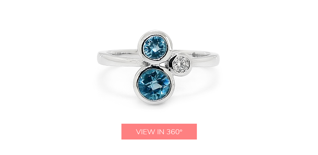 double blue topaz december birthstone diamond ring