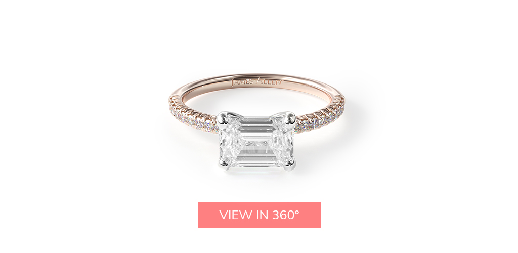 east west diamond emerald cut engagement ring trends 2019
