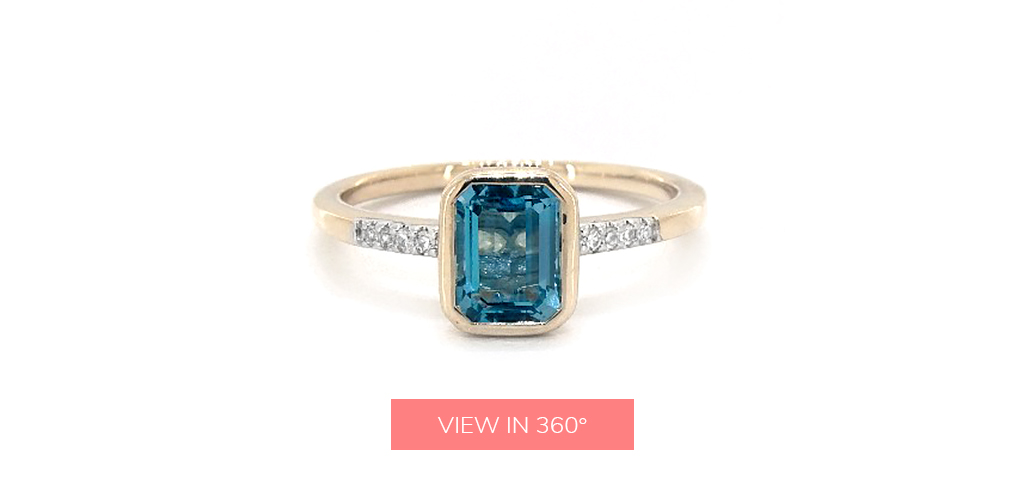 emerald cut blue topaz december birthstone pave ring