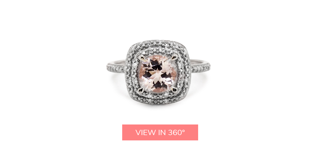 morganite gemstone double halo engagement ring trends 2019