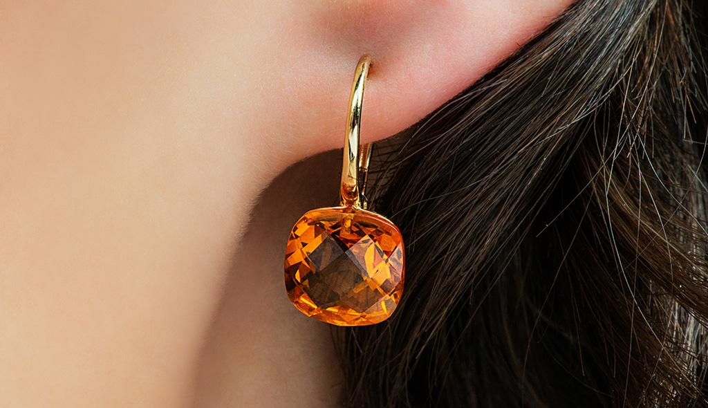 november birthstone cushion cut madeira citrine checkerboard leverback earrings cover
