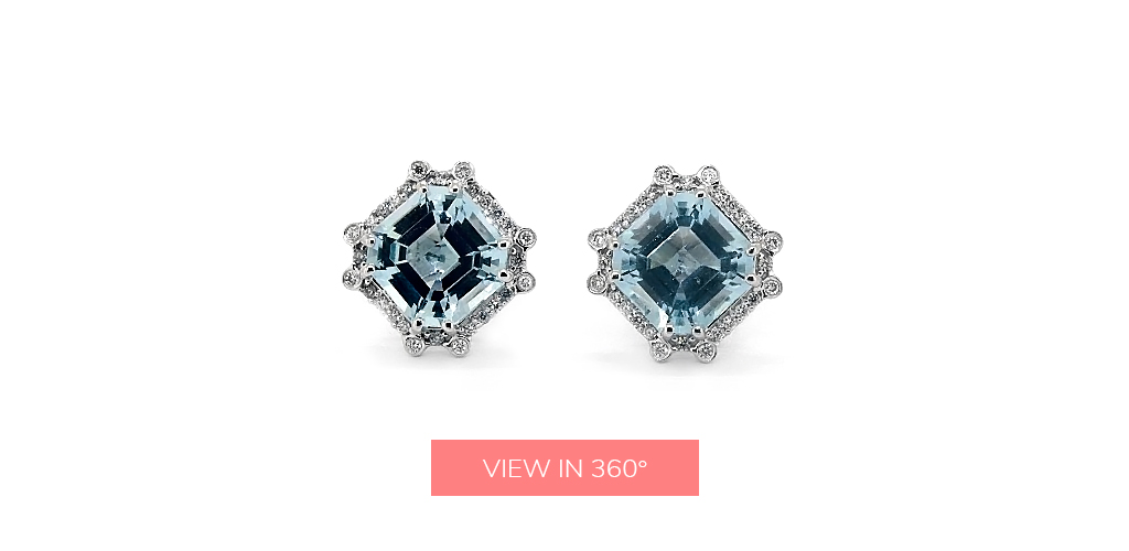 octagon halo blue topaz december birthstone earrings