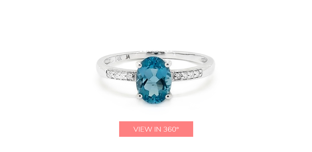 oval cut blue topaz december birthstone pave ring