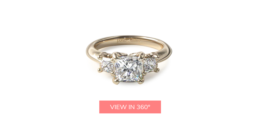 princess three stone yellow gold engagement ring trends 2019