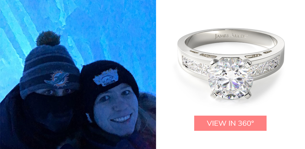 winter proposal ideas channel set diamond engagement ring