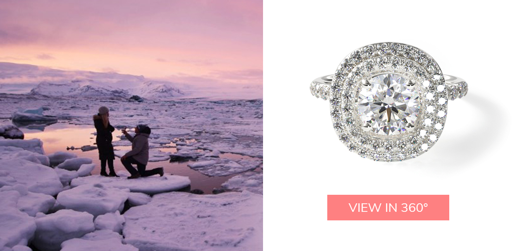 winter proposal ideas diamond split shank double halo pavé engagement ring