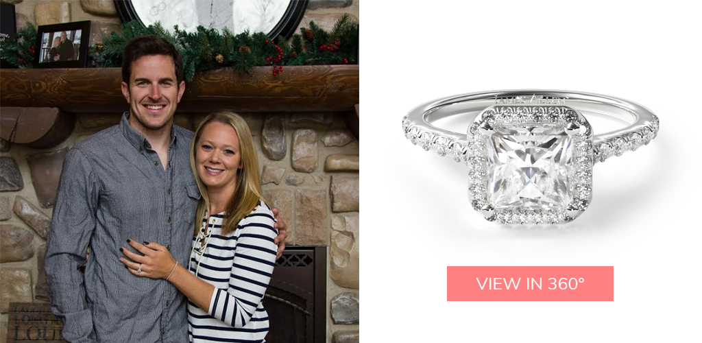 winter proposal ideas princess cut pavé halo diamond engagement ring