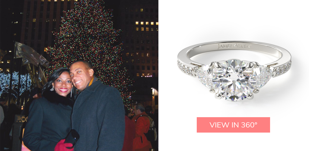 winter proposal ideas three stone trillion pave diamond engagement ring