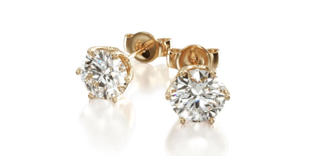 14K Yellow Gold Scallop Basket Diamond Stud Earrings