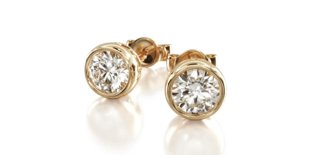 yellow gold diamond stud earrings classic round cut bezel-set earring settings