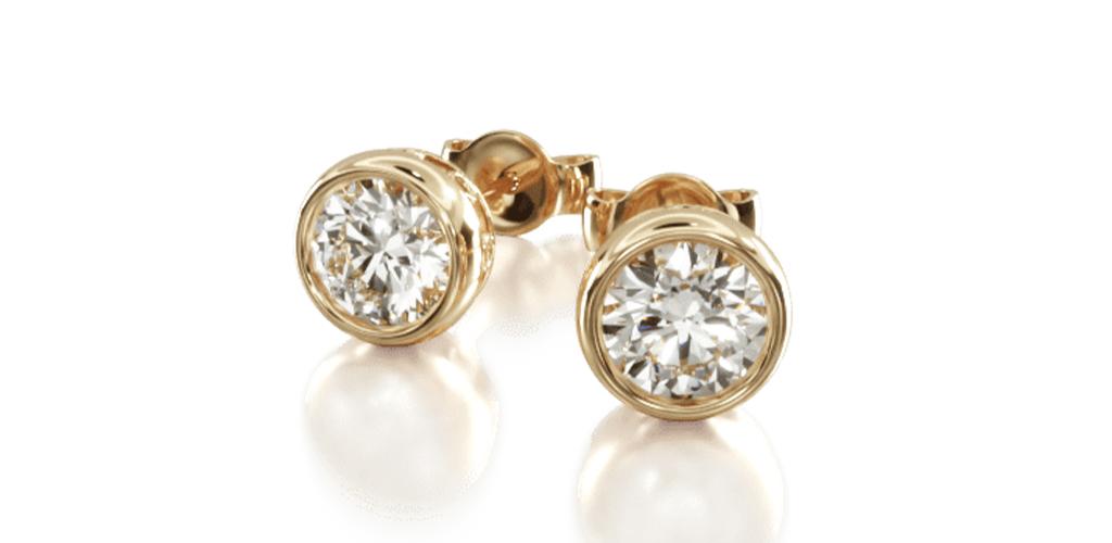 14K Yellow Gold Bezel Diamond Stud Earrings