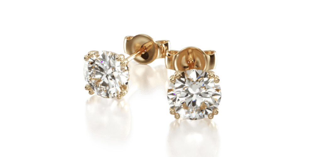 yellow gold diamond stud earrings classic round cut double four-prong earring settings