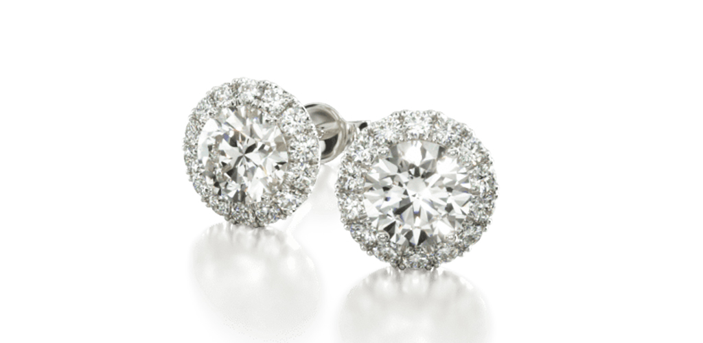 white gold diamond stud earrings handmade three prong martini pavé halo earring settings