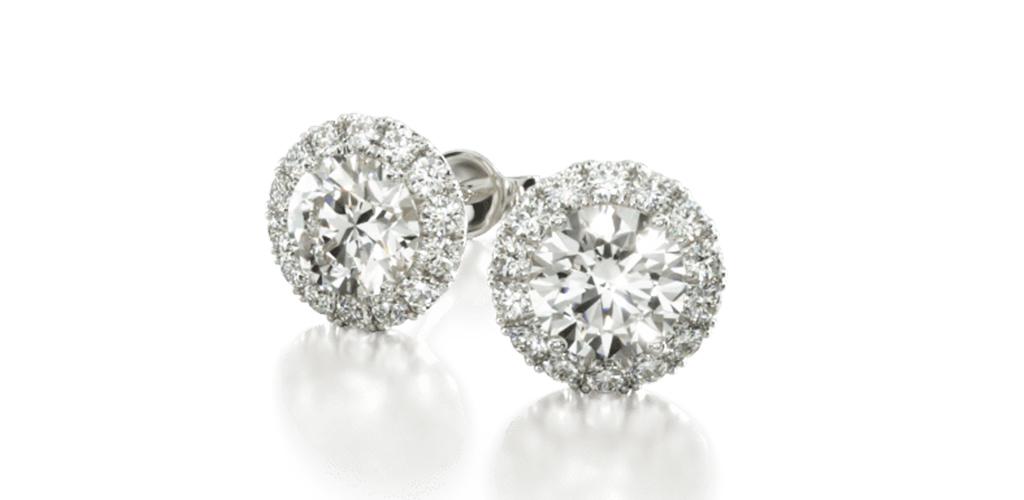 14K White Gold Halo Lab Created Diamond Stud Earrings