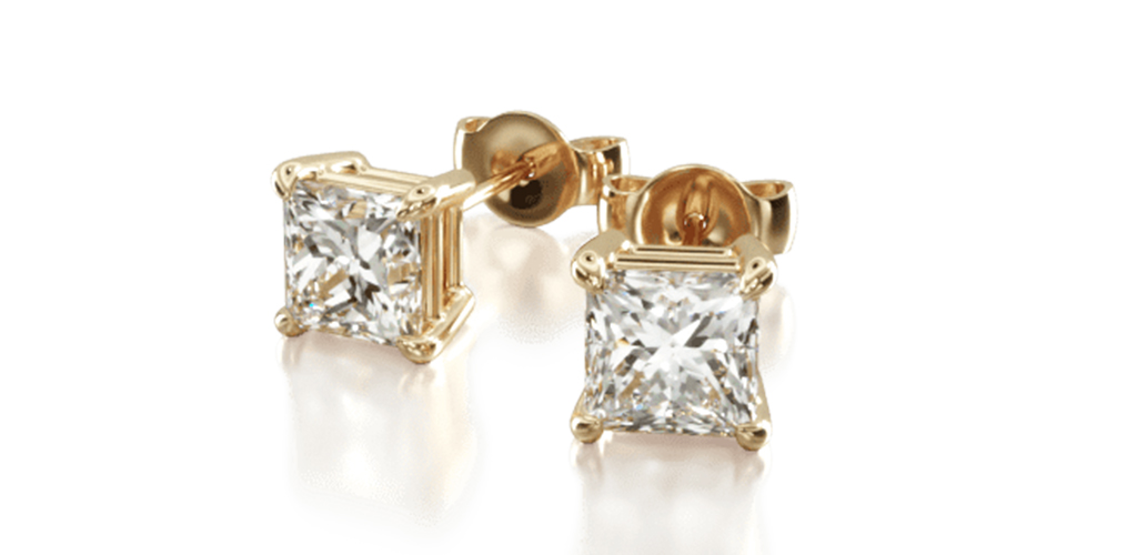 yellow gold diamond stud earrings classic princess cut four prong earring settings