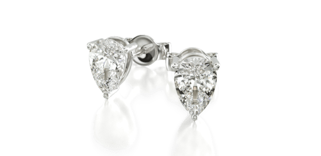 white gold diamond stud earrings pear-cut three-prong earring settings