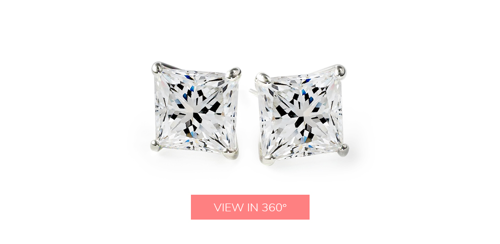 diamond stud earrings classic princess cut four prong earring settings
