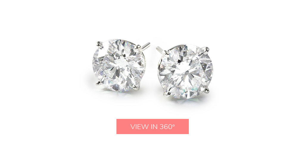 diamond stud earrings classic round cut four prong earring settings