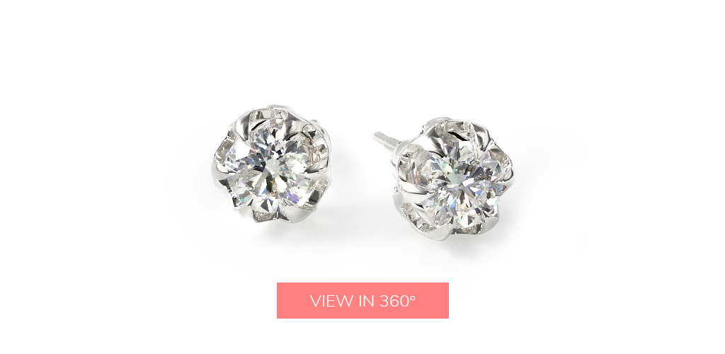 diamond stud earrings handmade six prong scalloped basket earring settings