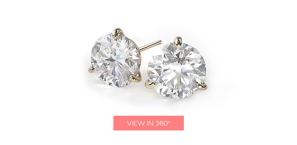 diamond stud earrings three prong martini earring settings