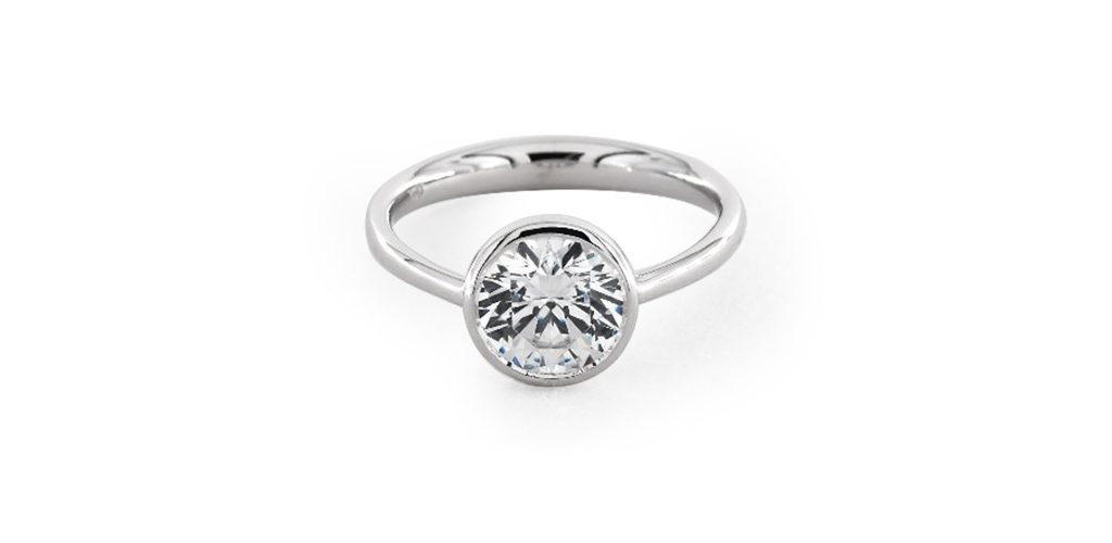 14K White Gold Bezel Set Solitaire Engagement Ring