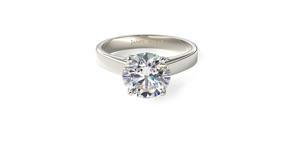 Platinum 3.3mm Cross Prong Solitaire Engagement Ring