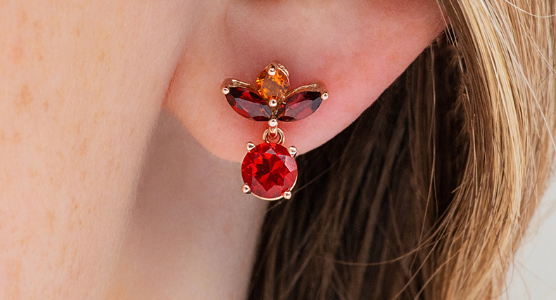 garnet january birthstone trio gemstone earrings