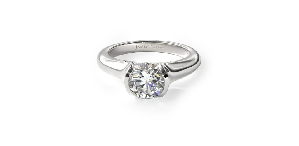 14K White Gold Tapered Half Bezel Engagement Ring