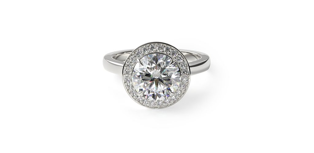 Platinum Trellis Halo Diamond Engagement Ring