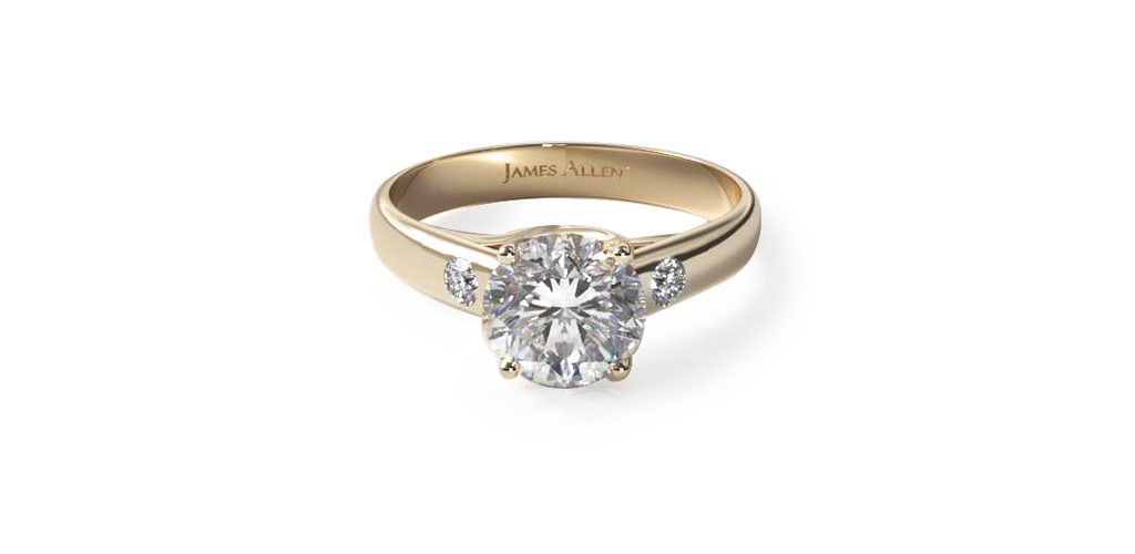 14K Yellow Gold Cross Prong Diamond Accent Solitaire Ring