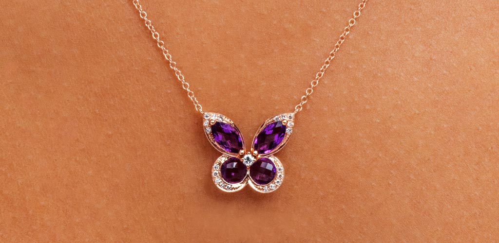 february birthstone amethyst diamond butterfly necklace