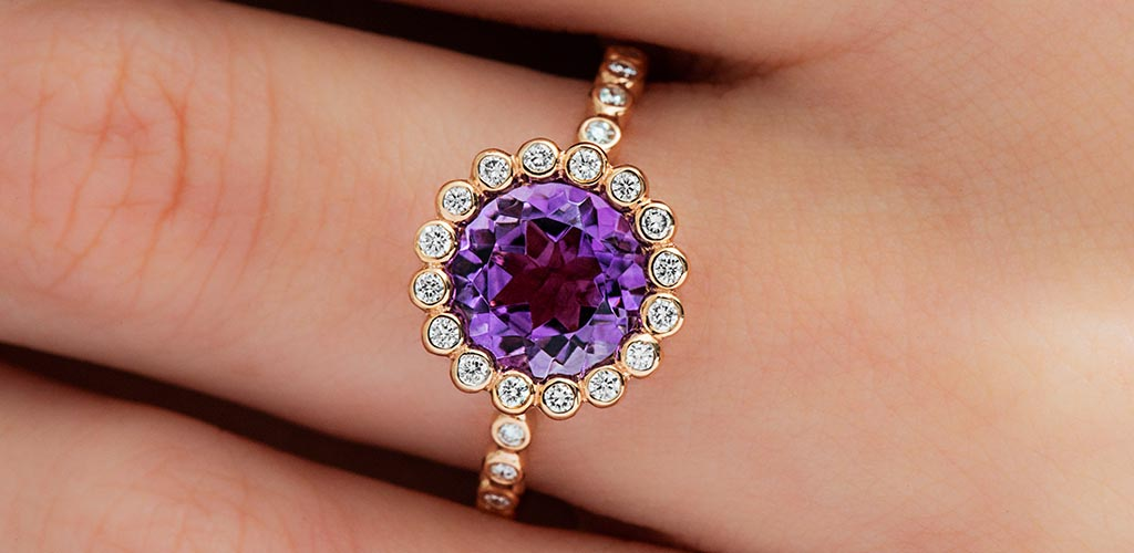 february birthstone amethyst diamond studded beaded halo ring