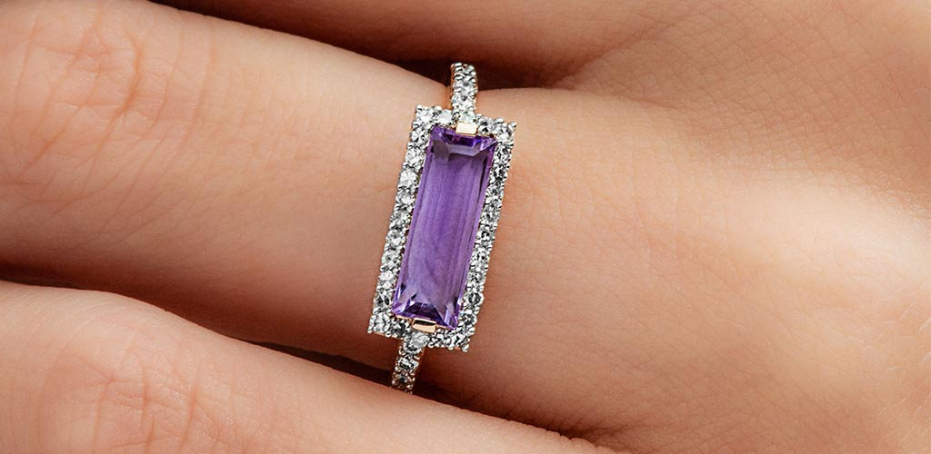 14K Rose Gold East-West Emerald Cut Amethyst And Diamond Halo Bar Ring
