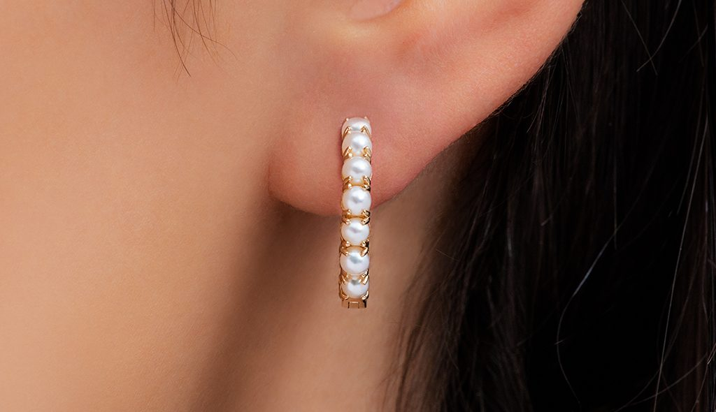 pearl jewelry hoop earrings
