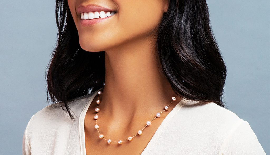 pink pearl jewelry station necklace