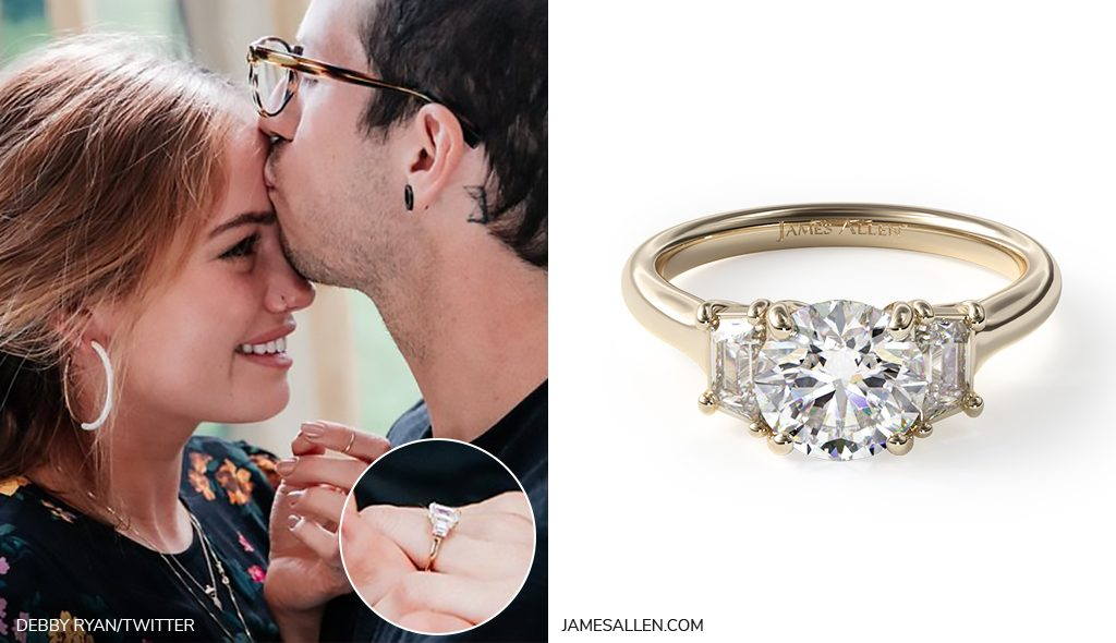 debby ryan side stone engagement ring inspiration