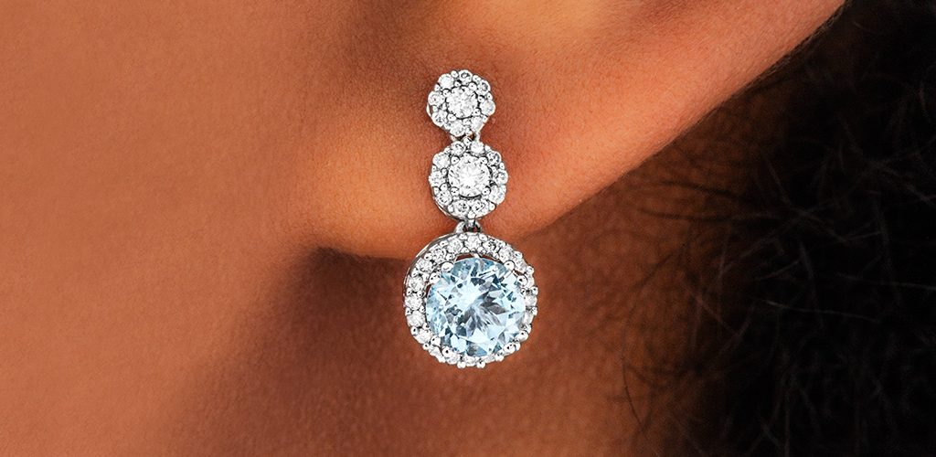 aquamarine diamond halo earrings march birthstone