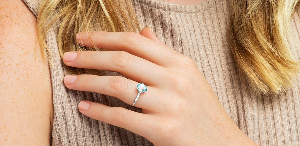 aquamarine pave ring march birthstone