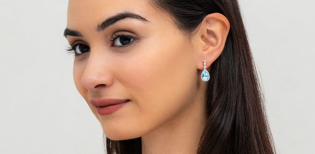 aquamarine pear cut drop earrings march birthstone