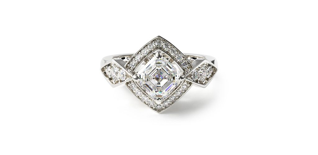 art deco engagement rings asscher cut diamonds