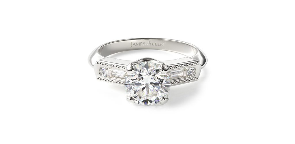 art deco engagement rings baguette diamond