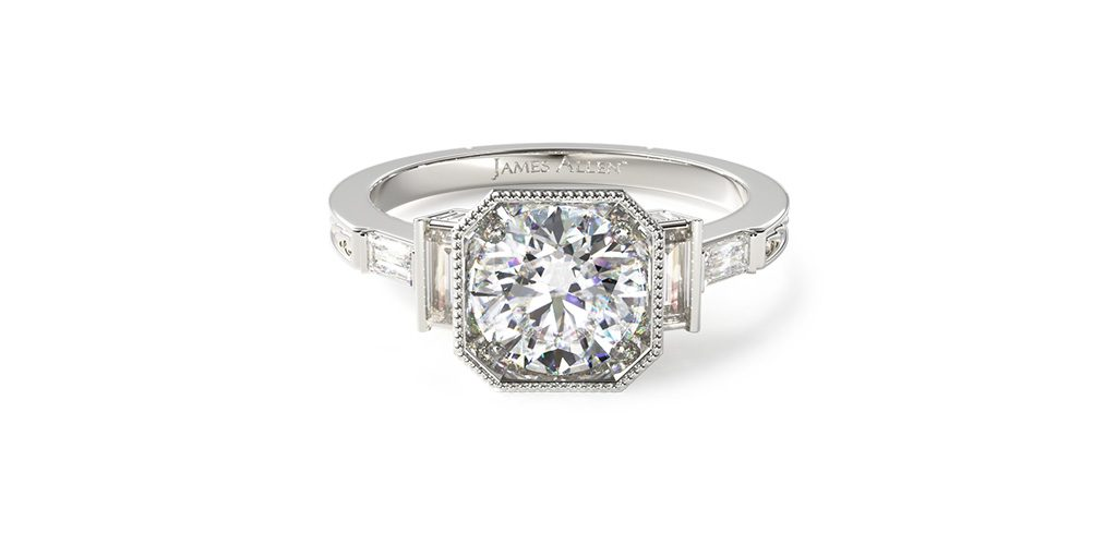 art deco engagement rings baguette side stone